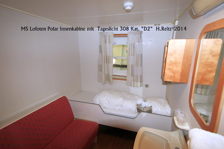 """MS Lofoten Polar Innenkabine mit Tageslicht 308 Kat. """"D2""""  H.Reitz©2014"""